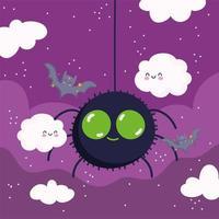 Happy Halloween, Spinne, Wolken und Fledermäuse vektor