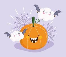 Happy Halloween, Kürbis, Wolken, Fledermäuse und Spinnennetz vektor
