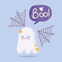 lycklig halloween, söt spöke och spindelnät