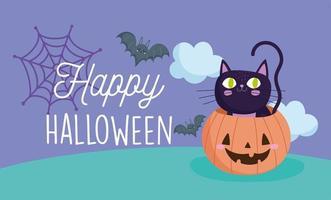 lycklig halloween, pumpa med svart katt