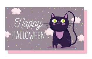 glad halloween, söt svart katt tecknad