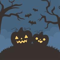 Fröhliches Halloween, Kürbisse, fliegende Fledermäuse und Bäume vektor