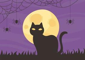 lycklig halloween, svart katt och måne på natten