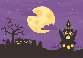 lycklig halloween, slott, kyrkogård och pumpor