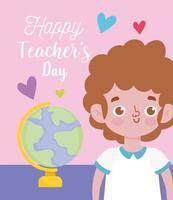 Glücklicher Lehrertag, Schülerjunge und Schulglobus