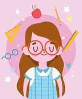 glücklicher Lehrertag, niedliches Studentenmädchen mit Uniform