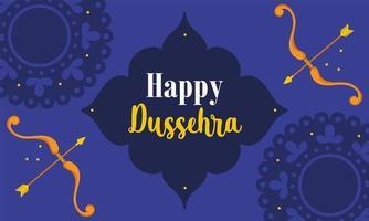 glückliches dussehra Festival von Indiens traditioneller religiöser Karte vektor