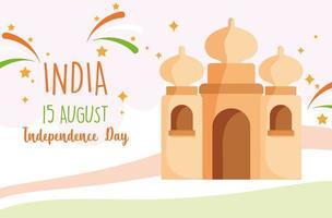 glücklicher Unabhängigkeitstag Indien, Taj Mahal Wahrzeichen Design vektor