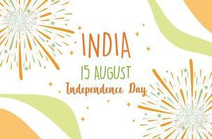 glücklicher Unabhängigkeitstag Indien Feuerwerk Flagge Farbkarte vektor