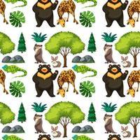 safari sömlösa mönster med söta djur vektor
