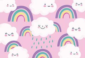 söta regnbågar och moln bakgrund vektor