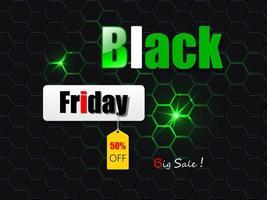 svart fredag svart och grönt försäljningsbanner