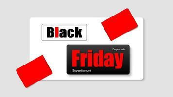 svart fredag svart, rött och vitt banner