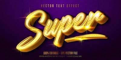 Super glänzender goldener Stil bearbeitbarer Texteffekt vektor