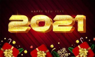 glänzend goldenes 2021 Neujahrsplakat
