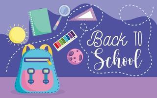 tillbaka till skolan, ryggsäck, bok, linjal och förstoringsglas vektor