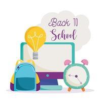 tillbaka till skolan, dator, ryggsäck och klocka vektor