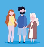 mormor med föräldrar tillsammans vektor