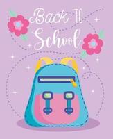 tillbaka till skolan, ryggsäck och blommor vektor