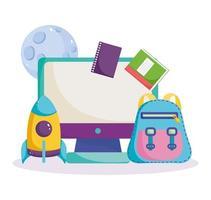 zurück zur Schule, Computer, Rucksack, Bücher und Rakete