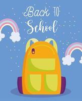 tillbaka till skolan, ryggsäck och regnbågar vektor
