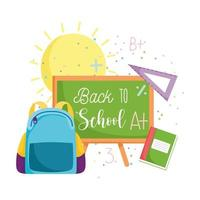 zurück zur Schule, Rucksack, Tafel, Lineal und Buch