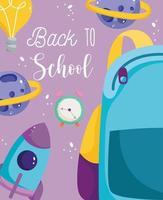 tillbaka till skolan, ryggsäck, väckarklocka och raket vektor