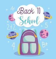 tillbaka till skolan, ryggsäck, planeter och aritmetiklektion vektor