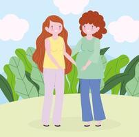 familjens mor och gravid kvinna utomhus vektor