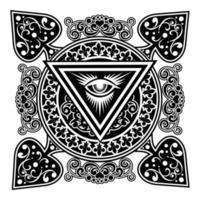 spadedesign med filigran och allt seande öga