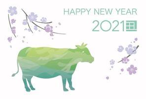 2021 Jahr der Ochsen Neujahrsgrußkarte