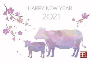 2021 Jahr der Ochsen Neujahrsgrußkarte vektor
