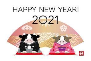2021 gratulationskort för oxens nya år vektor
