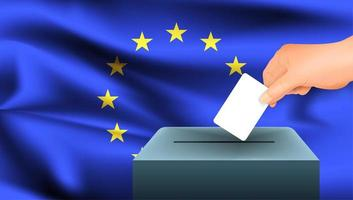 Hand Stimmzettel in Box mit EU-Flagge setzen vektor