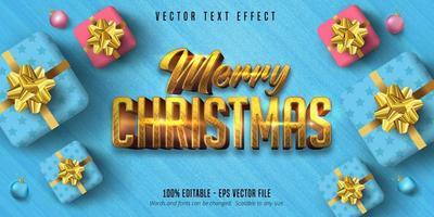 god jul guldtext på blått med gåvor