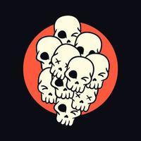 Haufen von Cartoon-Schädeln Hand gezeichnetes T-Shirt Design vektor