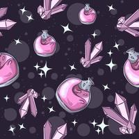 rosa Giftflasche und Amethyst, nahtloses Halloween-Muster vektor