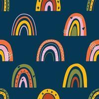 nahtloses kindliches Muster mit Regenbogen im skandinavischen Stil vektor