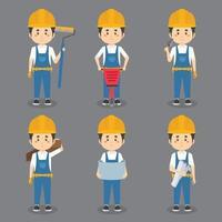 byggnadsarbetare som gör olika aktiviteter