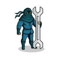 Ninja mit Schraubenschlüssel Maskottchen vektor