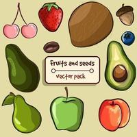 Packung mit verschiedenen Arten von Früchten und Samen