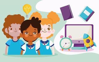 Zurück zum Schulbanner mit Schülern und Materialien
