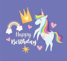 Geburtstagskarte mit buntem magischem Einhorn vektor