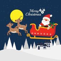 jul gratulationskort med jultomten i släde vektor