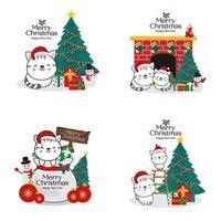 jul och nyår lyckliga katter i santa hattar vektor