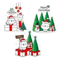 glada katter i santa hattar. god jul och gott nytt årskort. vektor
