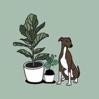 handgezeichnete Zimmerpflanzen und niedlicher Hund