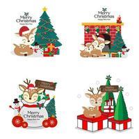 jul och nyår söt rådjur tecknad uppsättning vektor