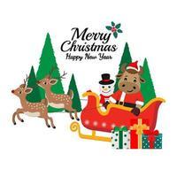 jul och nyår santa ox gratulationskort