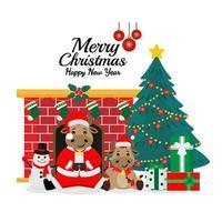 jul och nyår santa ox gratulationskort vektor